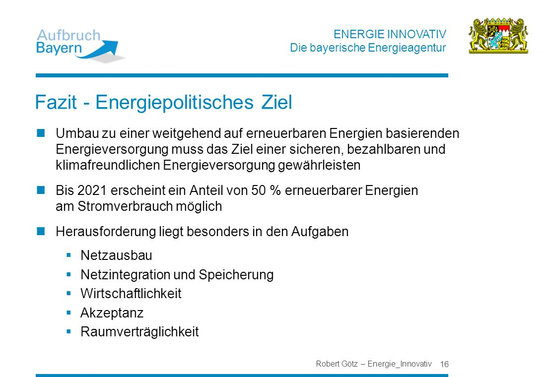 Fazit - Energiepolitisches Ziel