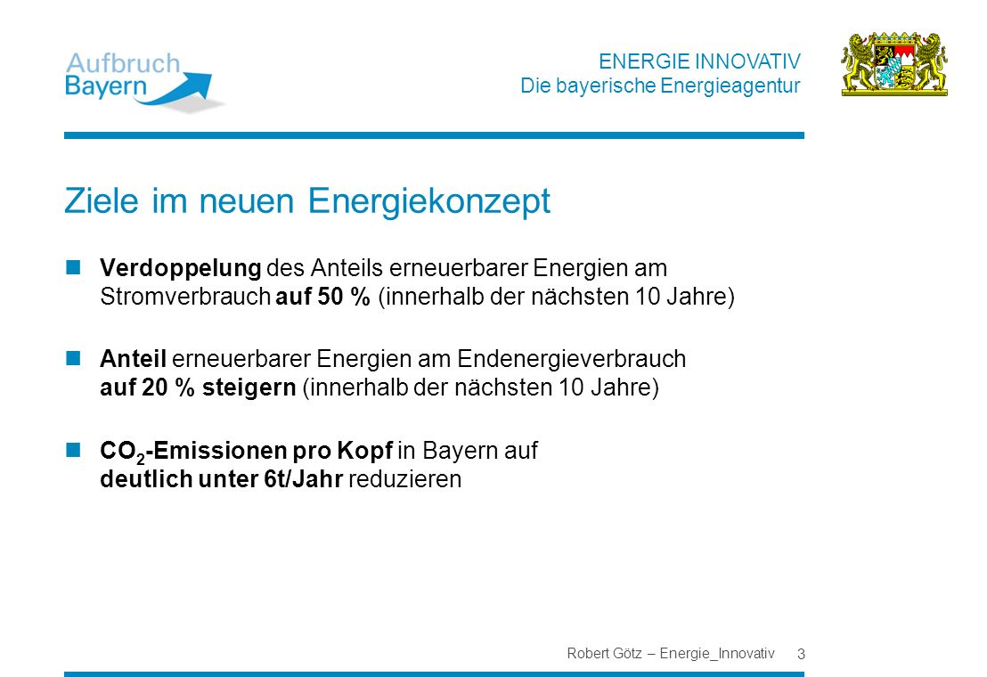 Ziele im neuen Energiekonzept