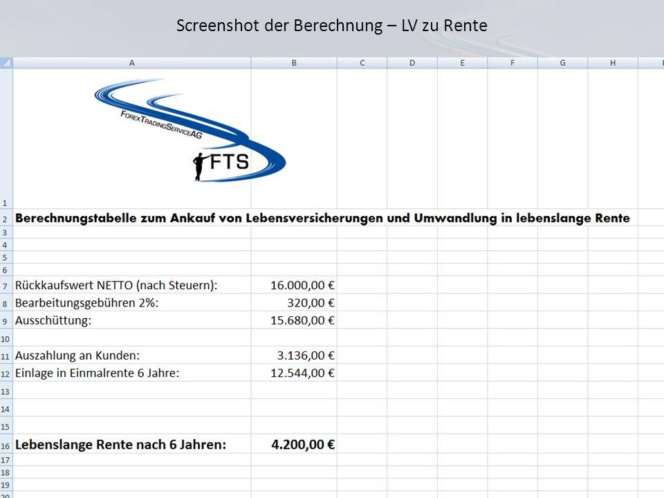Screenshot der Berechnung – LV zu Rente