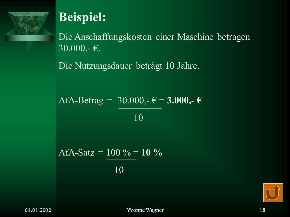 Beispiel: Die Anschaffungskosten einer Maschine betragen 30.000,- €.