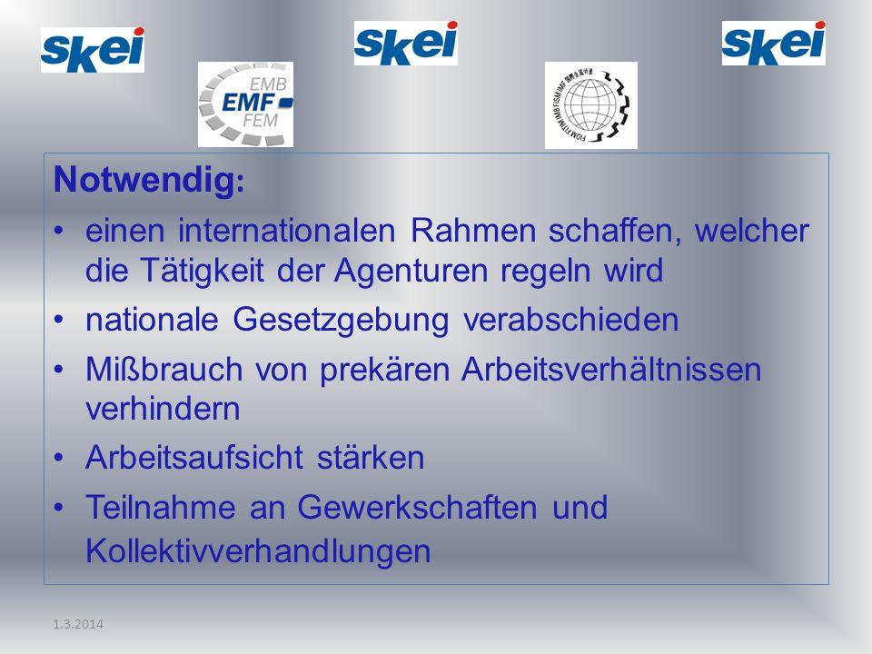Notwendig: einen internationalen Rahmen schaffen, welcher die Tätigkeit der Agenturen regeln wird. nationale Gesetzgebung verabschieden.