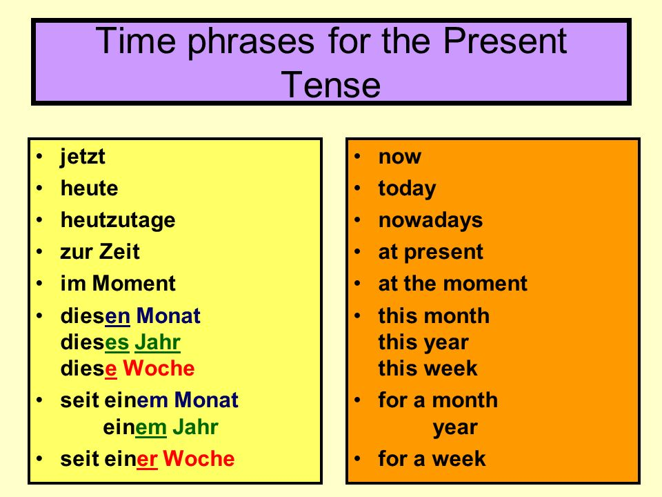 Time phrases for the Present Tense
