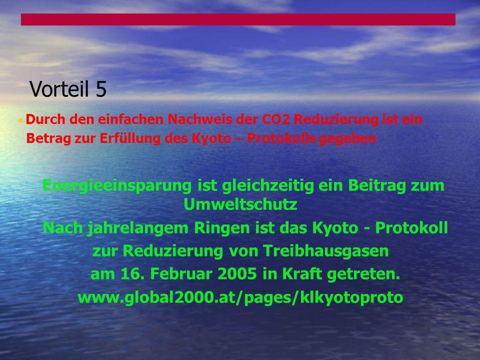 Vorteil 5 Nach jahrelangem Ringen ist das Kyoto - Protokoll
