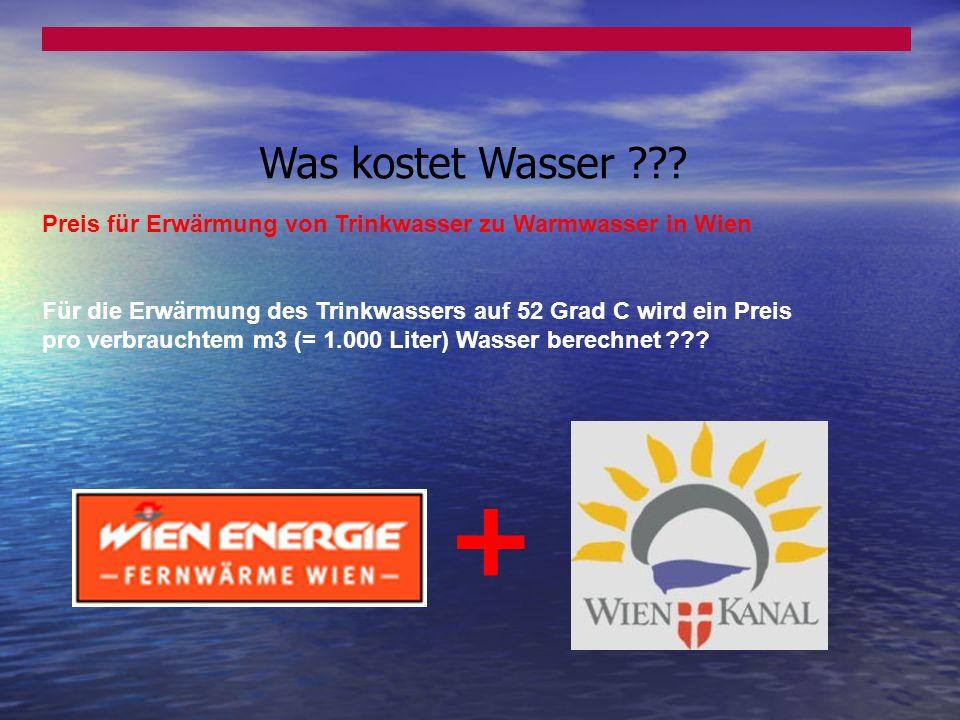 Was kostet Wasser Preis für Erwärmung von Trinkwasser zu Warmwasser in Wien.
