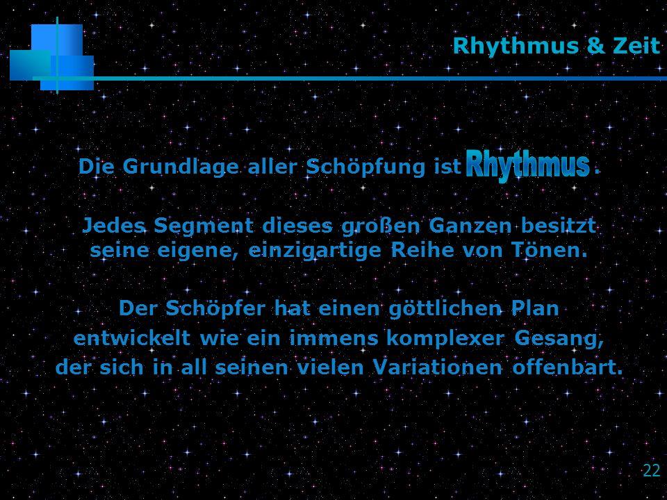 Rhythmus Rhythmus & Zeit Die Grundlage aller Schöpfung ist .