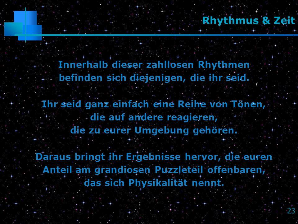 Rhythmus & Zeit Innerhalb dieser zahllosen Rhythmen