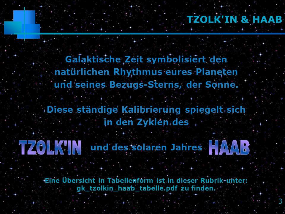 TZOLK IN HAAB TZOLK IN & HAAB Galaktische Zeit symbolisiert den
