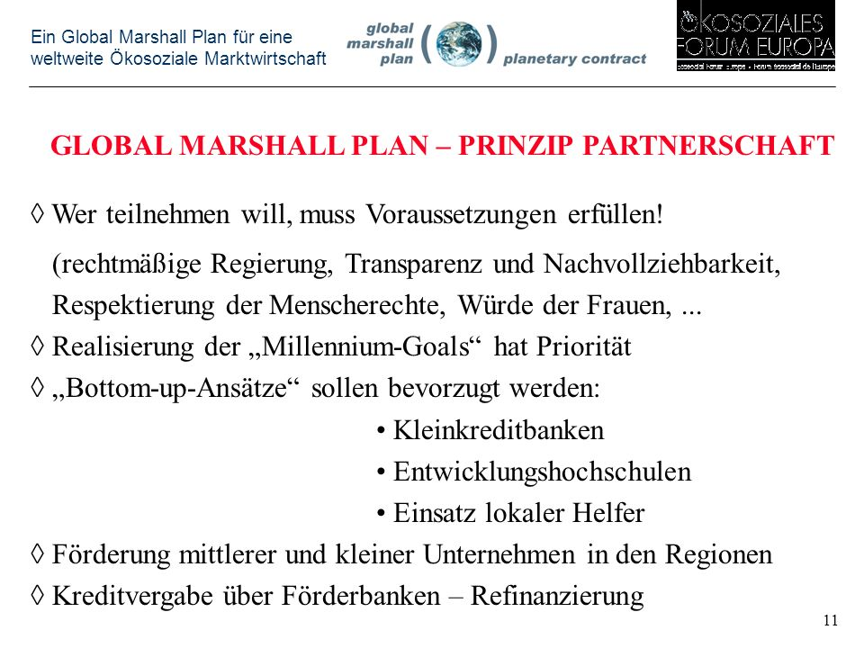 GLOBAL MARSHALL PLAN – PRINZIP PARTNERSCHAFT