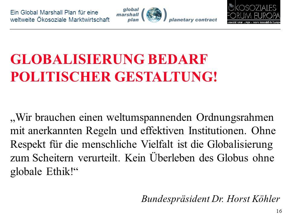 GLOBALISIERUNG BEDARF POLITISCHER GESTALTUNG!