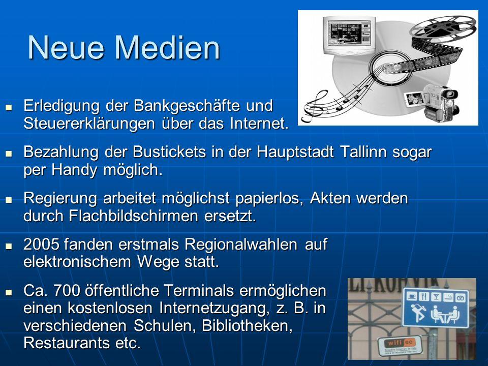 Neue Medien Erledigung der Bankgeschäfte und Steuererklärungen über das Internet.