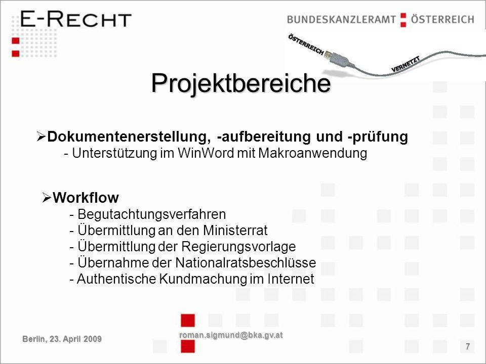 Projektbereiche Dokumentenerstellung, -aufbereitung und -prüfung