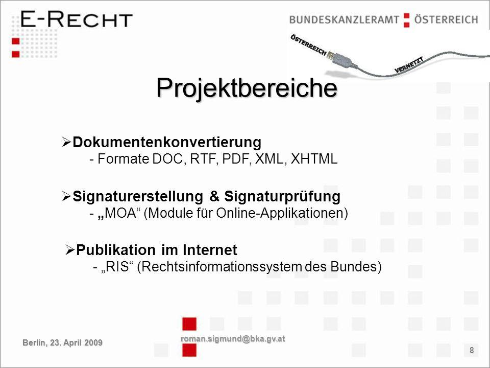 Projektbereiche Dokumentenkonvertierung