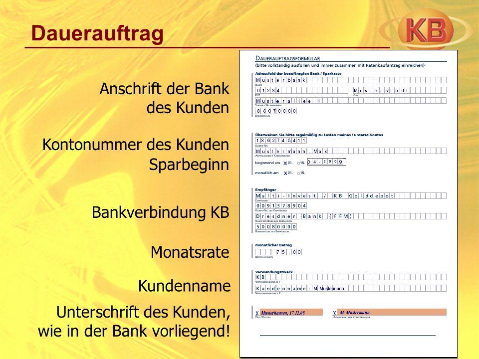 Dauerauftrag Anschrift der Bank des Kunden Kontonummer des Kunden