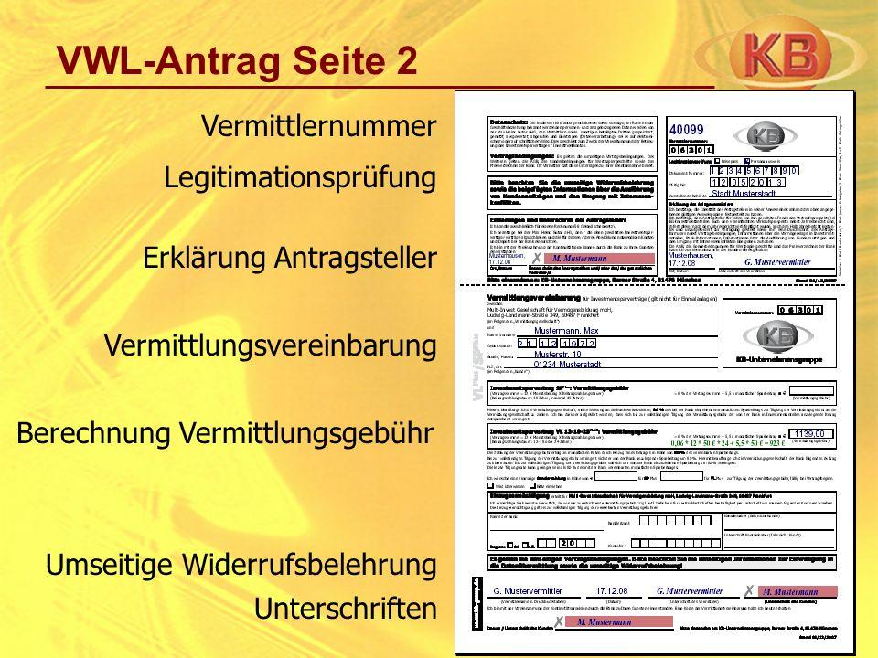 VWL-Antrag Seite 2 Vermittlernummer Legitimationsprüfung