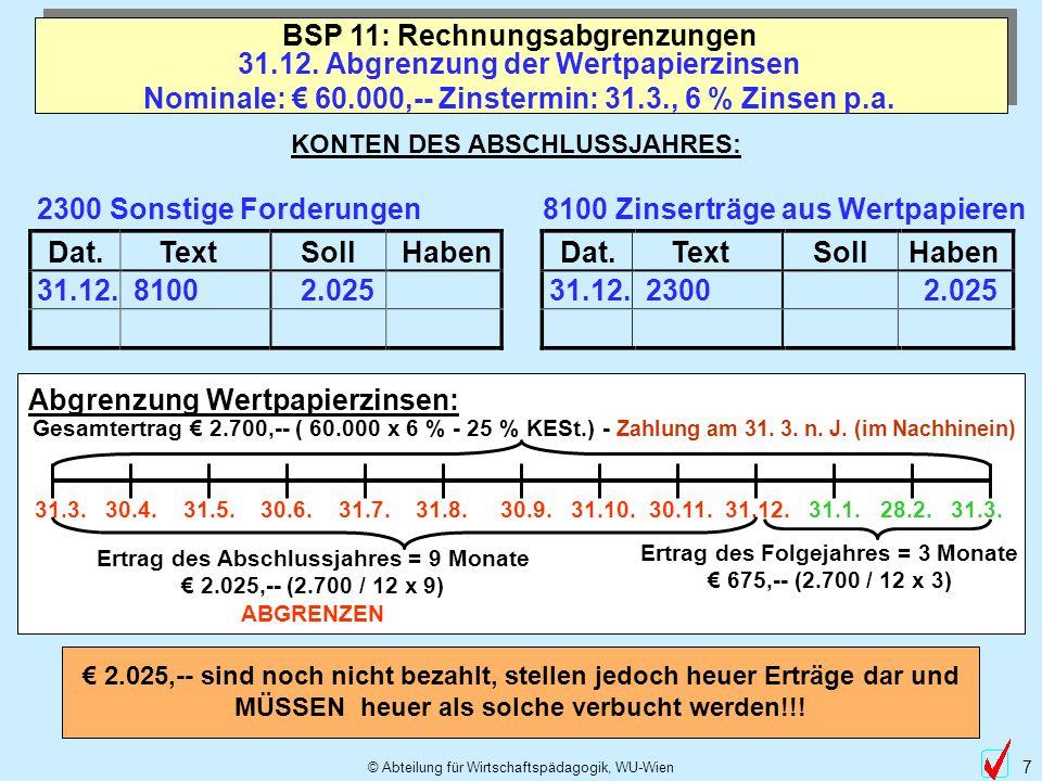 BSP 11: Rechnungsabgrenzungen