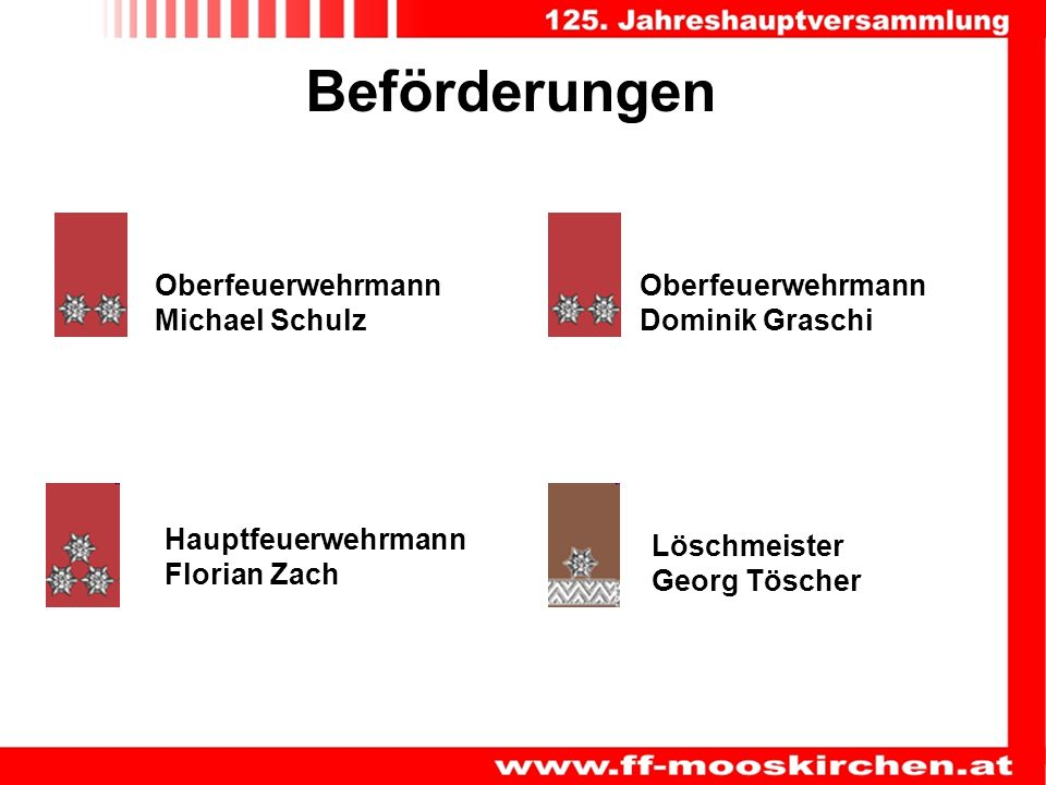 Beförderungen Oberfeuerwehrmann Michael Schulz Oberfeuerwehrmann