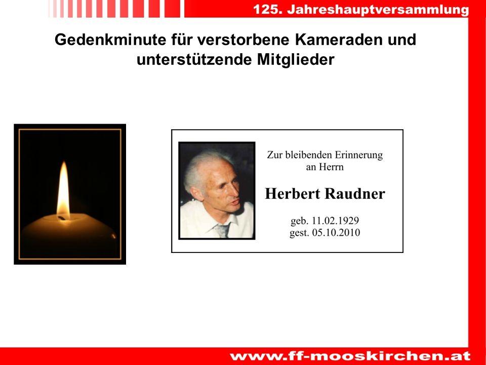 Gedenkminute für verstorbene Kameraden und unterstützende Mitglieder
