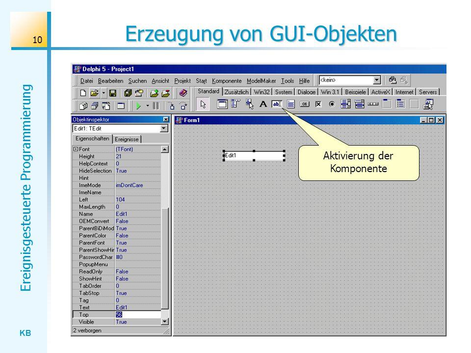 Erzeugung von GUI-Objekten