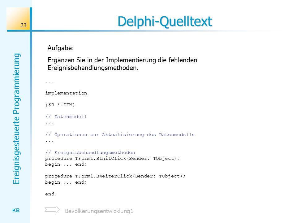 Delphi-Quelltext Aufgabe: