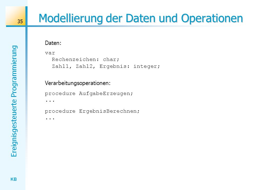 Modellierung der Daten und Operationen