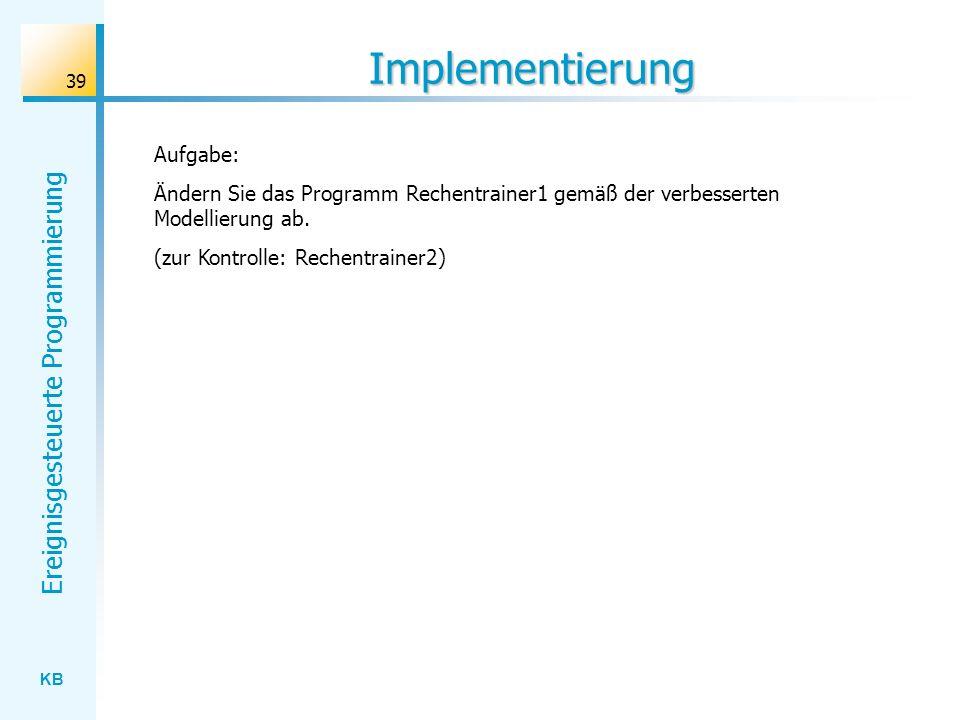 Implementierung Aufgabe: