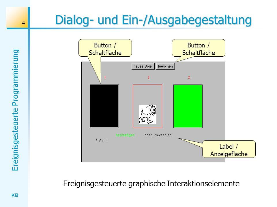Dialog- und Ein-/Ausgabegestaltung
