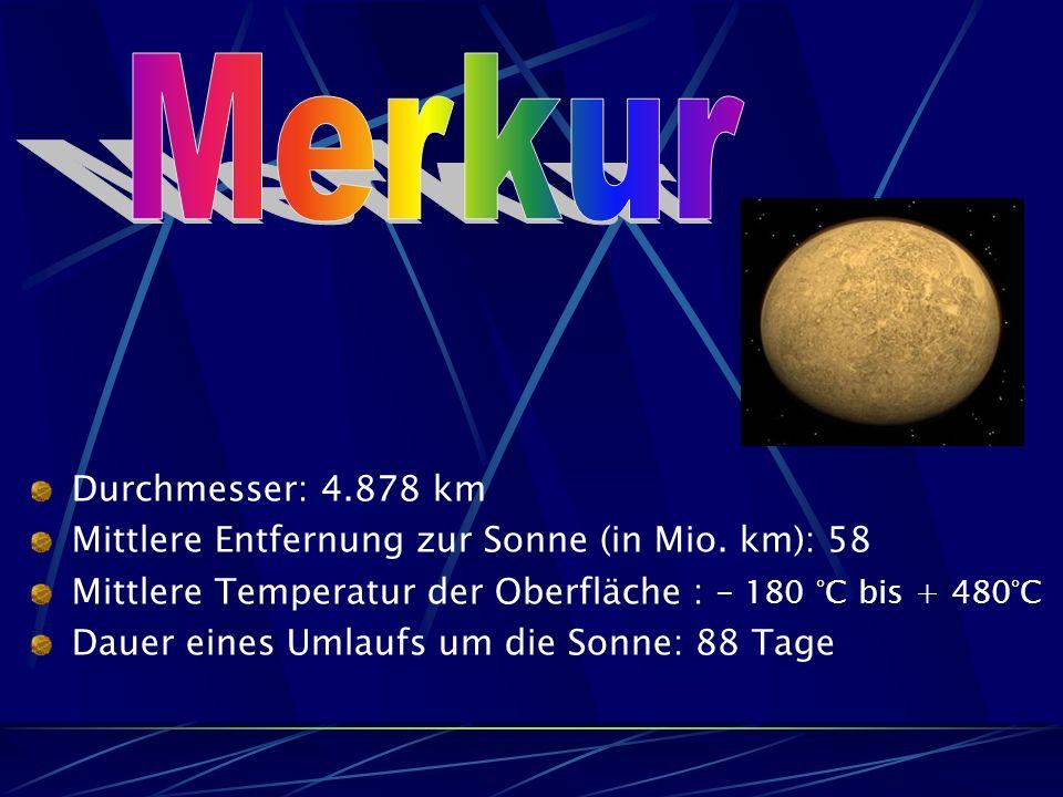Merkur Durchmesser: 4.878 km