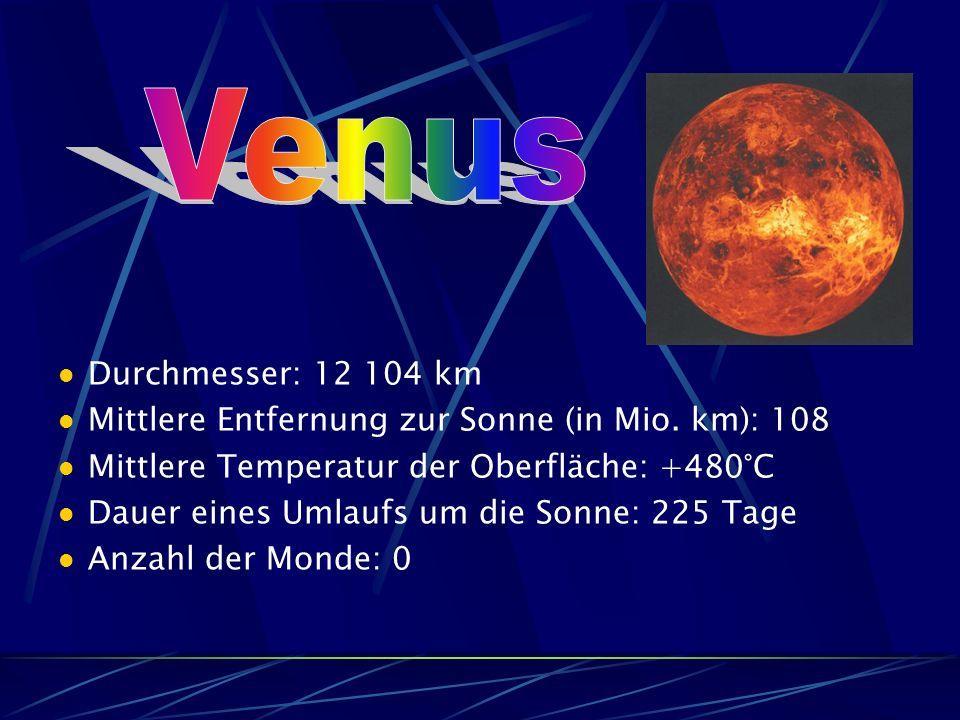 Venus Durchmesser: 12 104 km. Mittlere Entfernung zur Sonne (in Mio. km): 108. Mittlere Temperatur der Oberfläche: +480°C.
