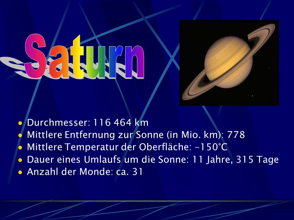Saturn Durchmesser: 116 464 km