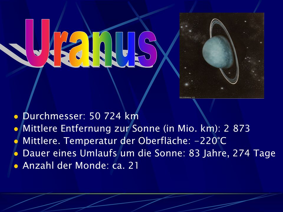 Uranus Durchmesser: 50 724 km