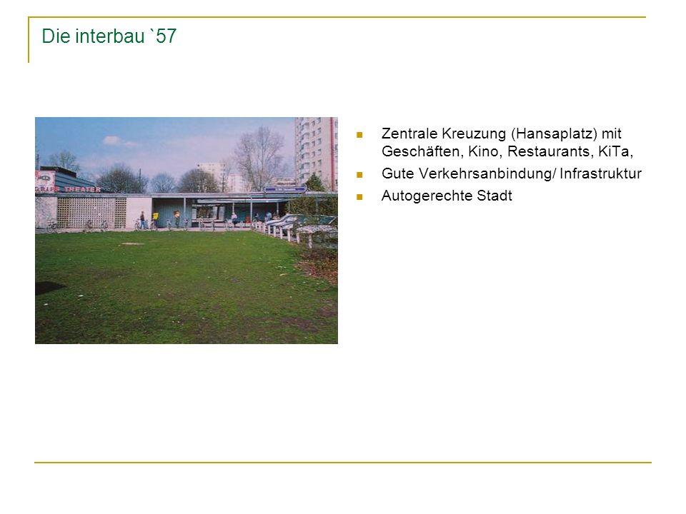 Die interbau `57 Zentrale Kreuzung (Hansaplatz) mit Geschäften, Kino, Restaurants, KiTa, Gute Verkehrsanbindung/ Infrastruktur.