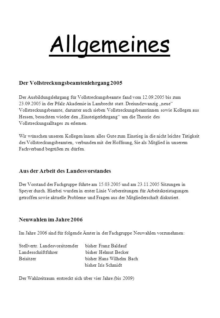 Allgemeines Der Vollstreckungsbeamtenlehrgang 2005