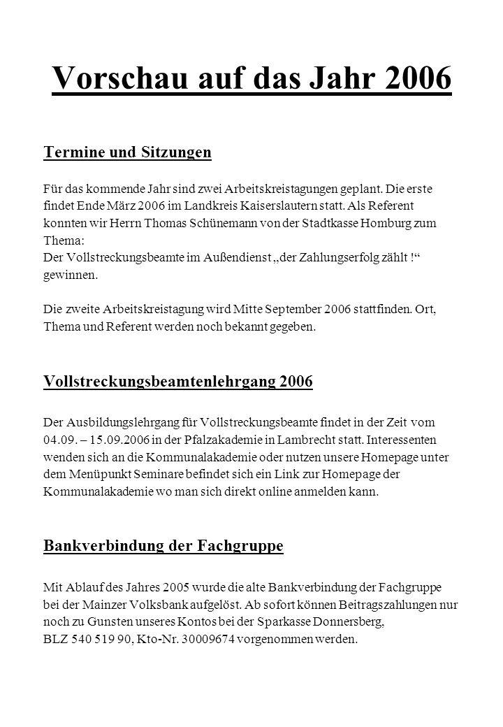 Vorschau auf das Jahr 2006 Termine und Sitzungen