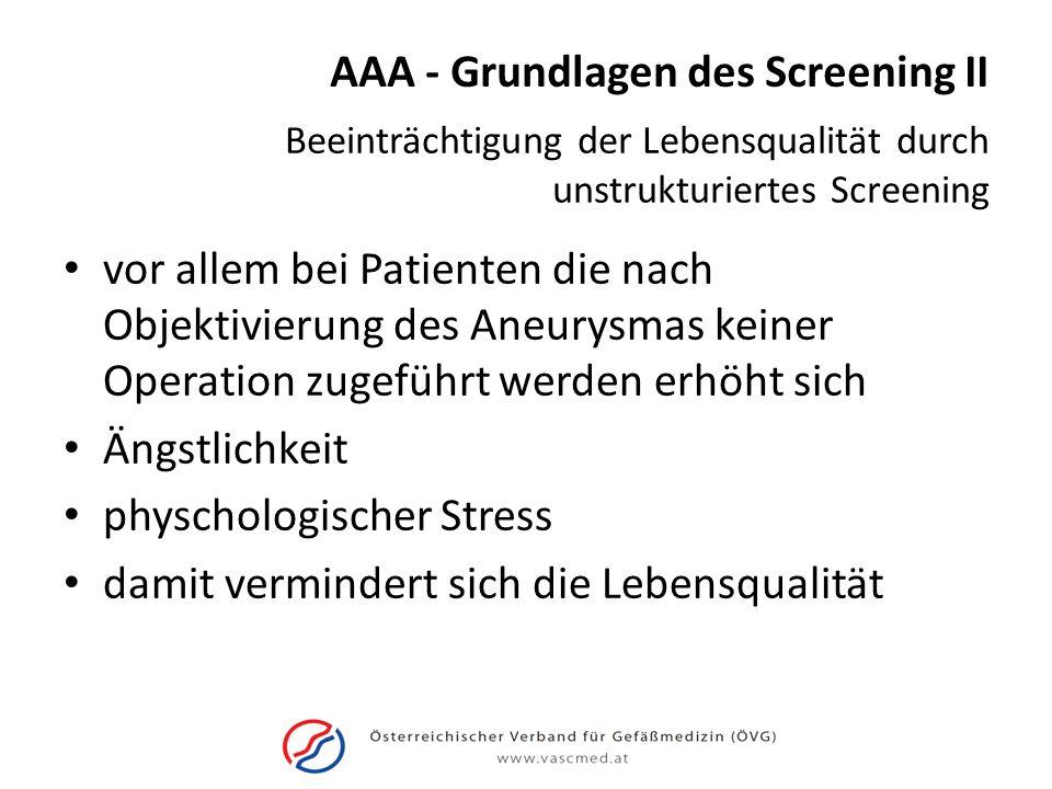 AAA - Grundlagen des Screening II
