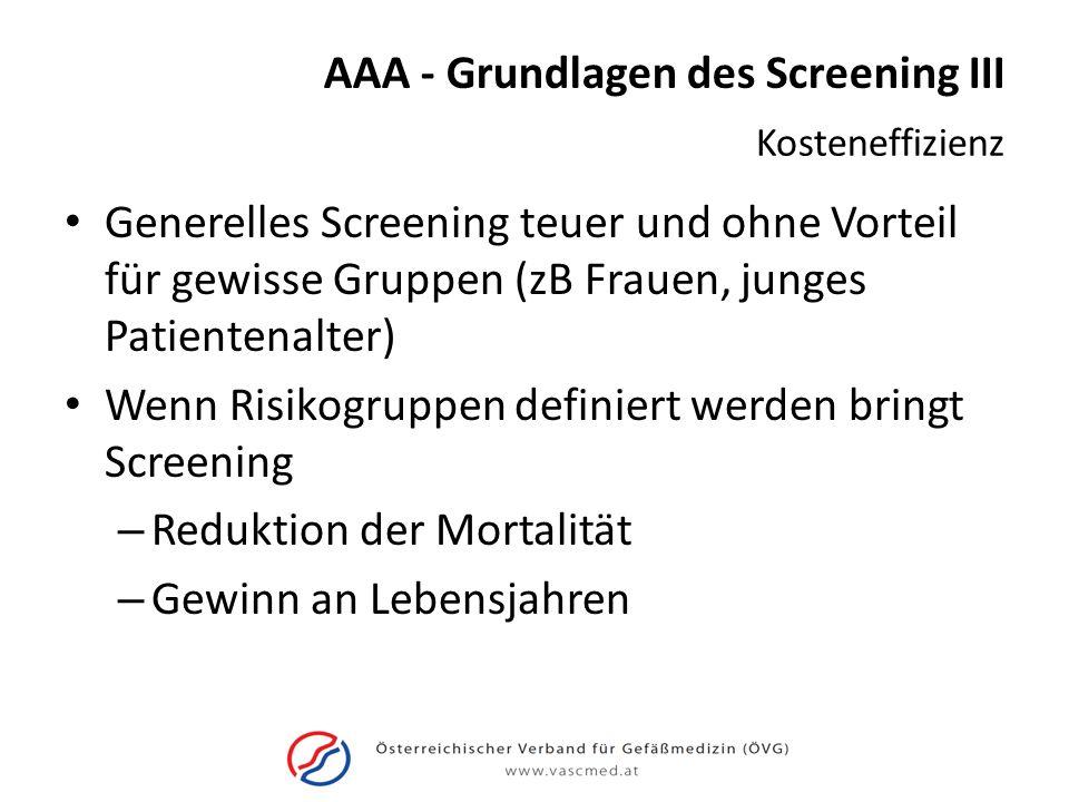 AAA - Grundlagen des Screening III