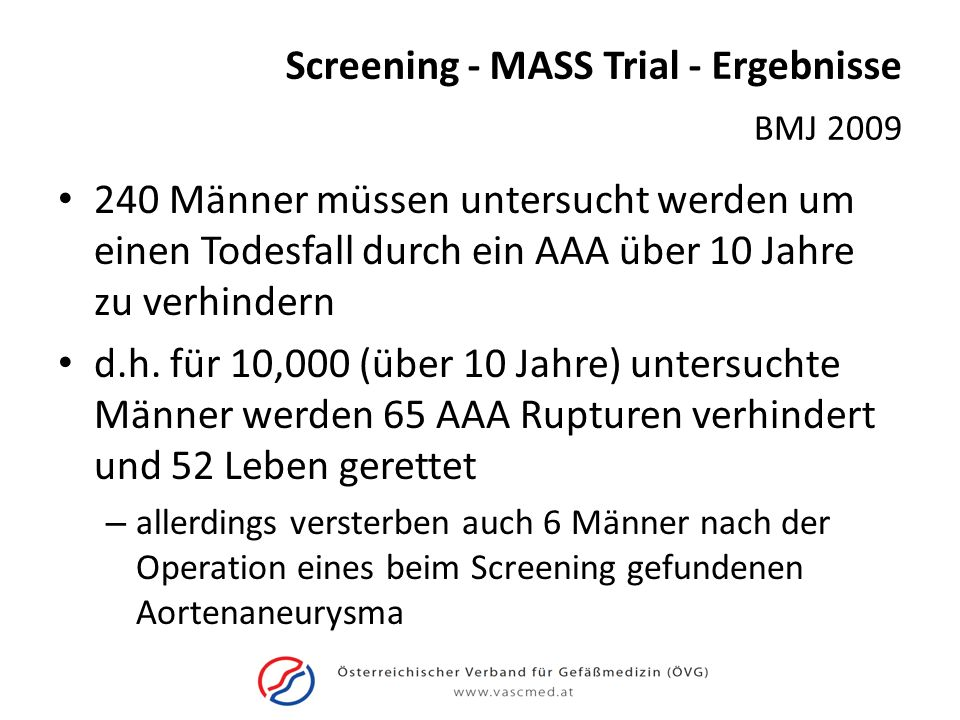 Screening - MASS Trial - Ergebnisse
