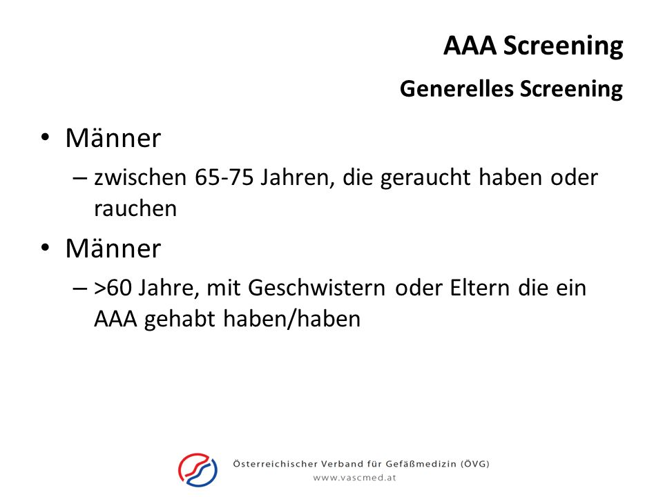 AAA Screening Männer Generelles Screening