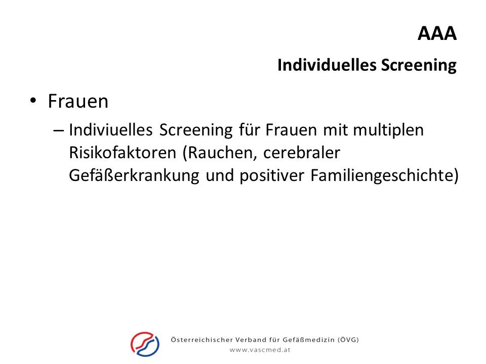 AAA Frauen Individuelles Screening