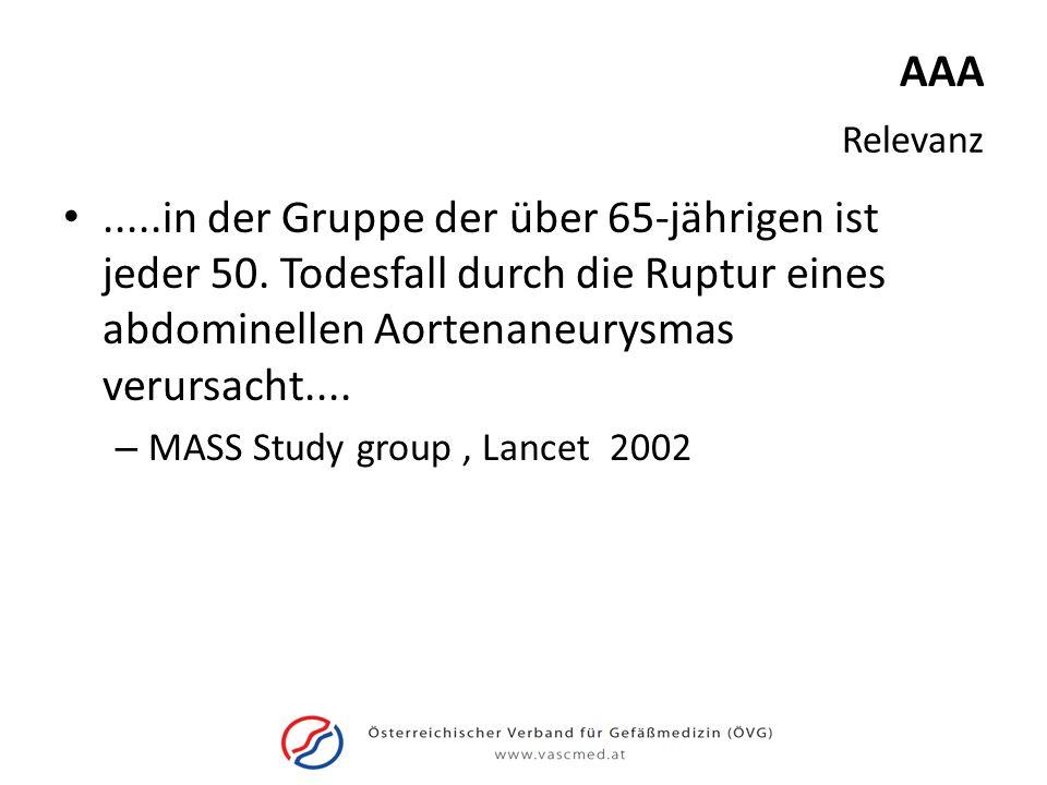 AAA Relevanz. .....in der Gruppe der über 65-jährigen ist jeder 50. Todesfall durch die Ruptur eines abdominellen Aortenaneurysmas verursacht....