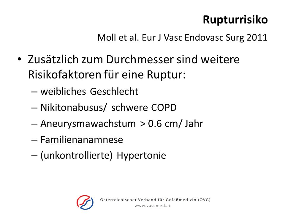 Rupturrisiko Moll et al. Eur J Vasc Endovasc Surg 2011. Zusätzlich zum Durchmesser sind weitere Risikofaktoren für eine Ruptur:
