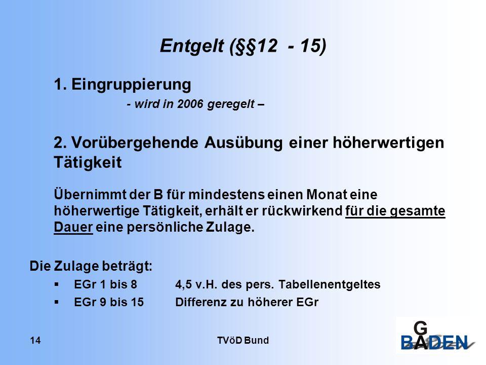 Entgelt (§§12 - 15) 1. Eingruppierung