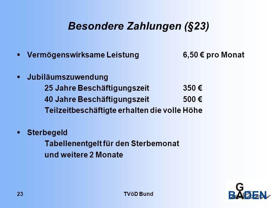 Besondere Zahlungen (§23)