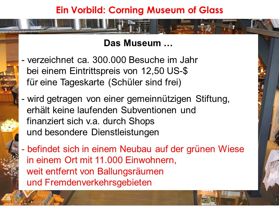 Ein Vorbild: Corning Museum of Glass