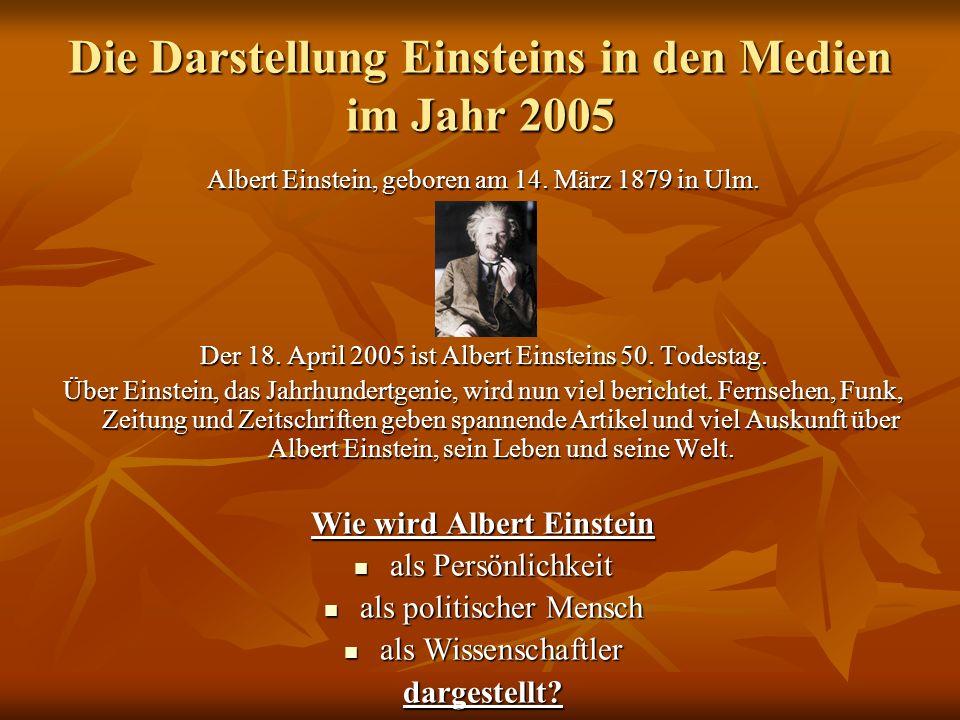 Die Darstellung Einsteins in den Medien im Jahr 2005