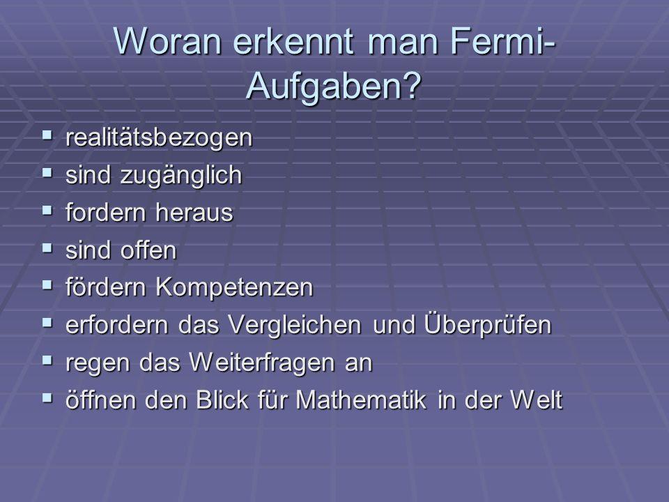 Woran erkennt man Fermi-Aufgaben