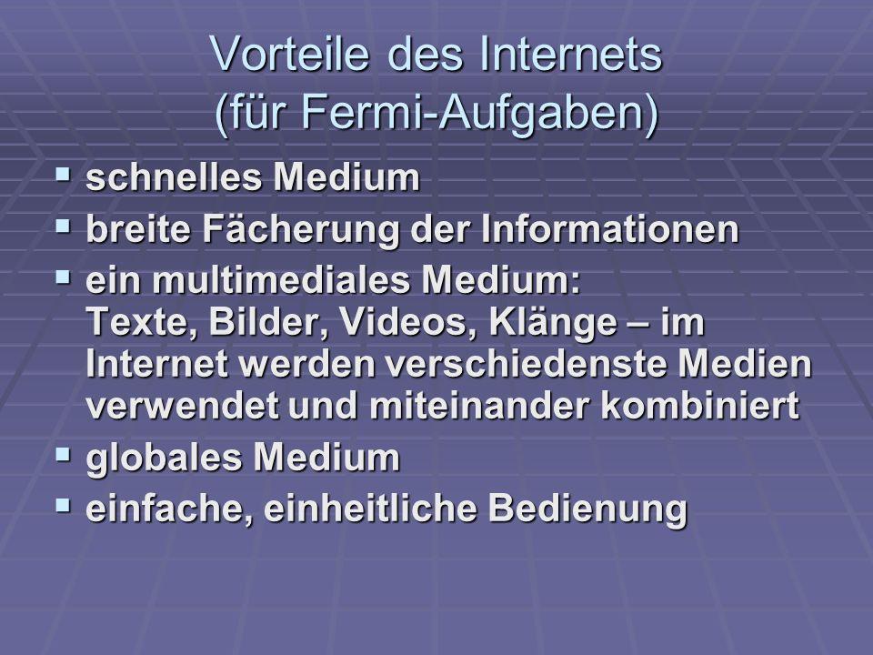 Vorteile des Internets (für Fermi-Aufgaben)