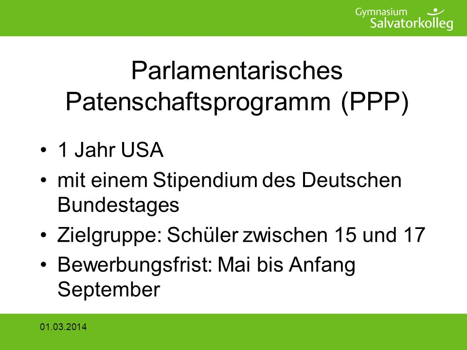 Parlamentarisches Patenschaftsprogramm (PPP)