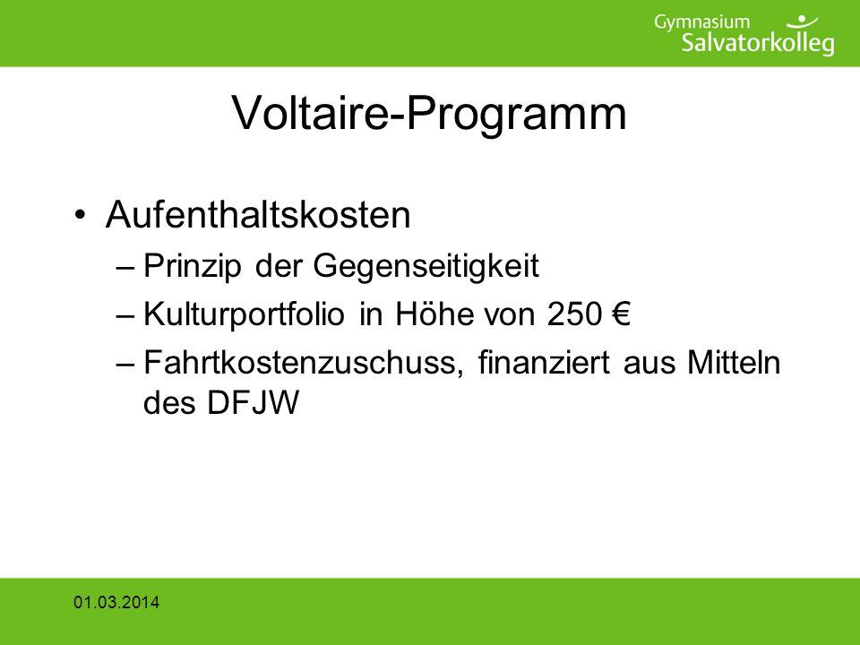 Voltaire-Programm Aufenthaltskosten Prinzip der Gegenseitigkeit