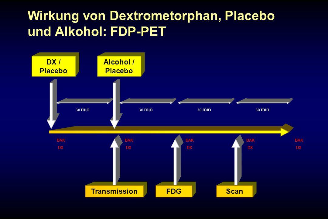 Wirkung von Dextrometorphan, Placebo und Alkohol: FDP-PET