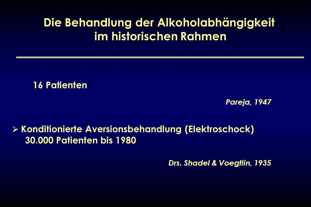Die Behandlung der Alkoholabhängigkeit im historischen Rahmen